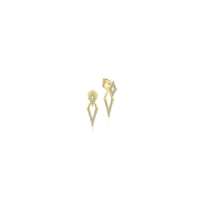 Gabriel Fashion 14KY .27CT DIA POINT PEEK-A-BOO EARR