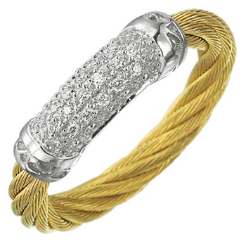 18 karat White Gold and Yellow stainless steel N.C. 1 row 3.0 mm and Diamonds.