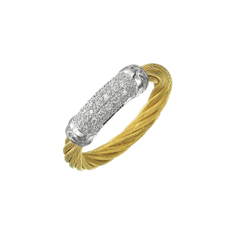ALOR 18 karat White Gold and Yellow stainless steel N.C. 1 row 3.0 mm and Diamonds.