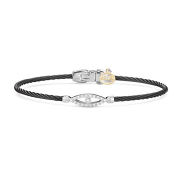 Alor Noir Collection Stainless Steel and White Gold Black Cable Bangle Bracelet