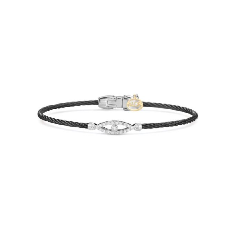 ALOR Alor Noir Collection Stainless Steel and White Gold Black Cable Bangle Bracelet