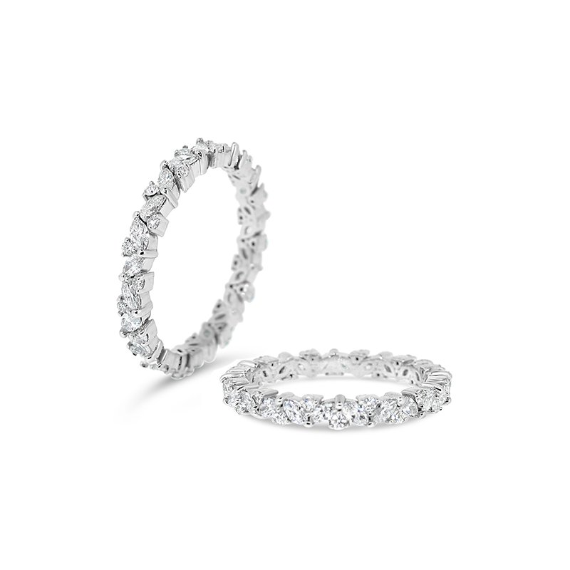 Aires Custom Bridal round and marquise diamond band
