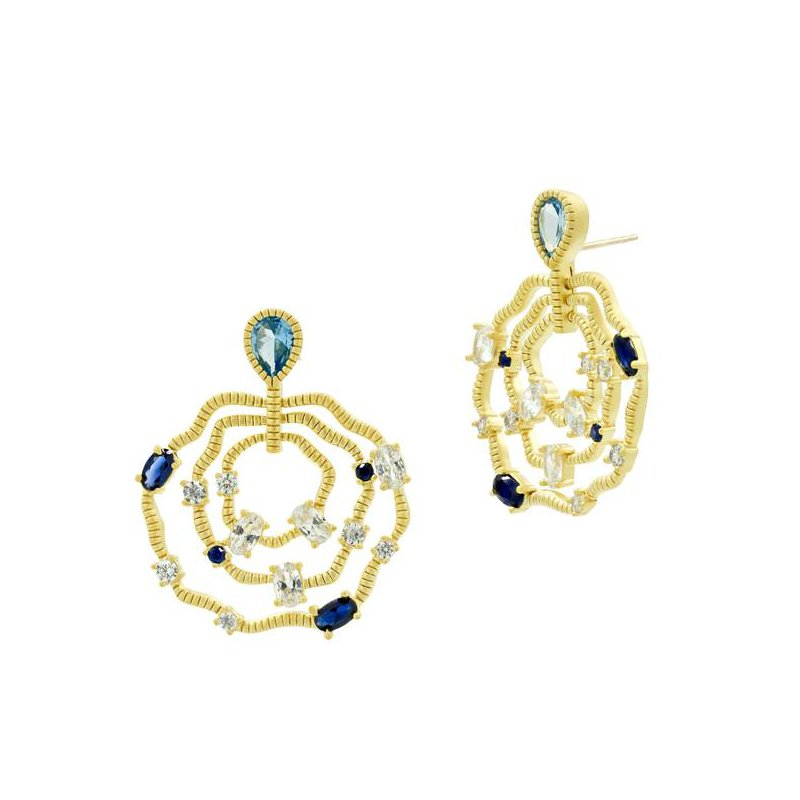 Freida Rothman IMP/SS/BLK RHD/14KYP BLUE TRIPLE LAYER WAVY EARRINGS