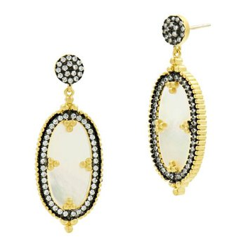 IMP/SS BLK RHD/14KYP OVAL MOP DROP EARRINGS
