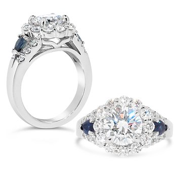 Round diamond and blue sapphires