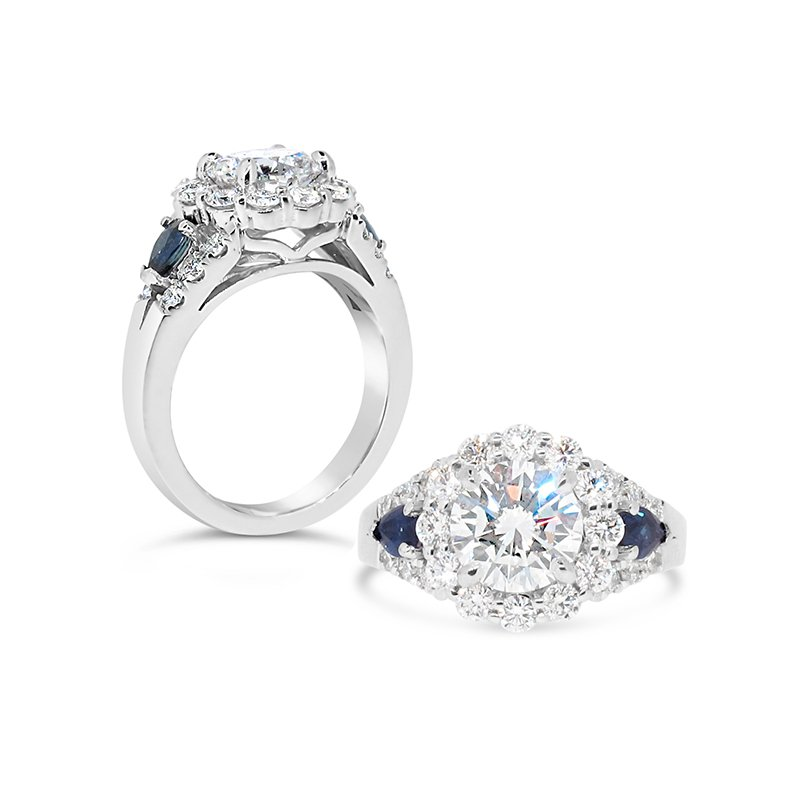 Aires Custom Bridal Round diamond and blue sapphires