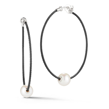 Black Cable Hoop Earrings with 18kt White Gold & Fresh Water Pearl