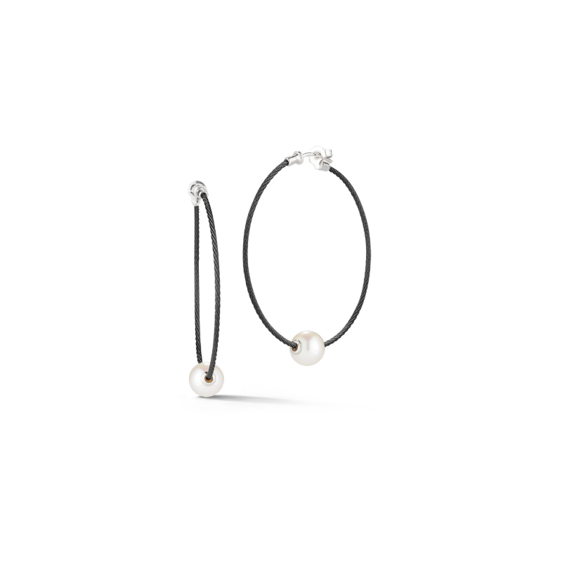 ALOR Black Cable Hoop Earrings with 18kt White Gold & Fresh Water Pearl
