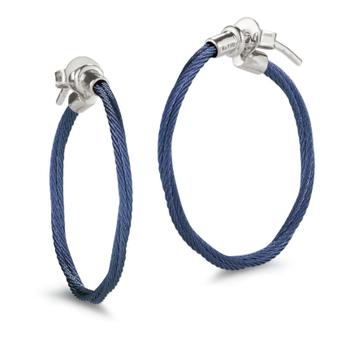 Blueberry Cable Hoop Earrings