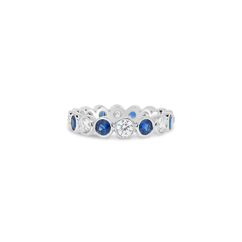 Aires Custom Bridal bezel set diamond and sapphire band