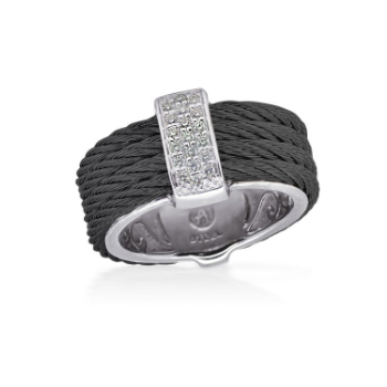 Black Cable Petite Monochrome Ring with 18kt White Gold & Diamonds