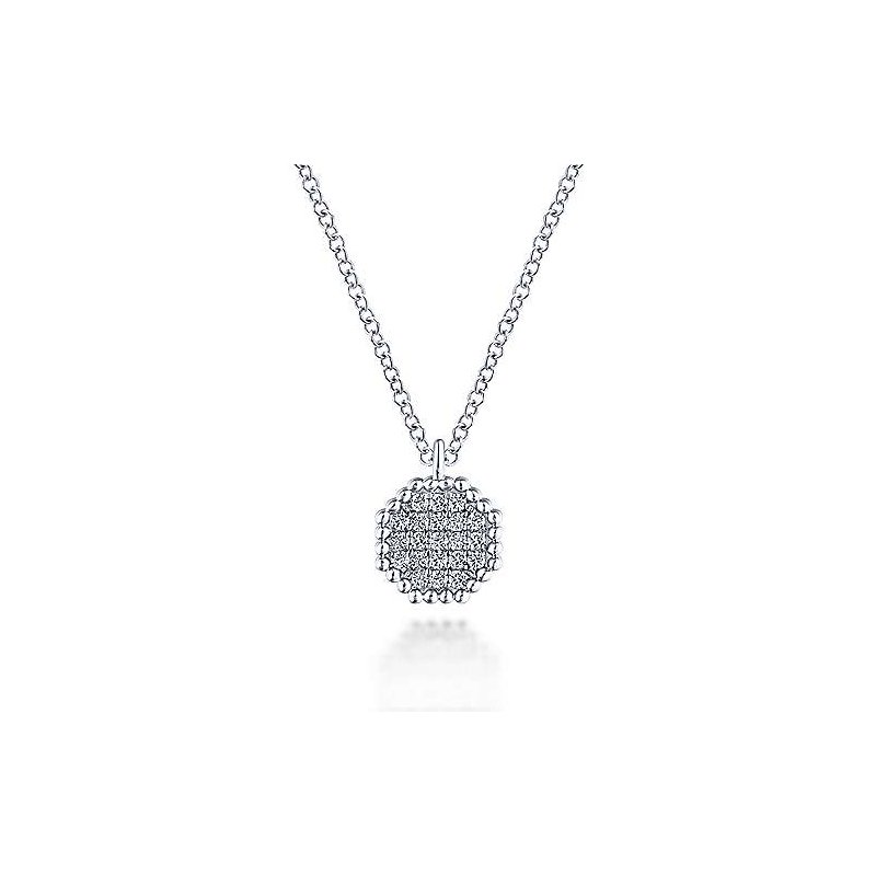 Gabriel Fashion 14KW .10CT DIA OCTAGON NECKLACE