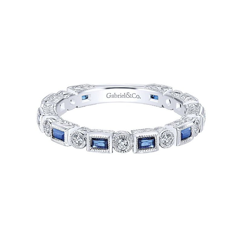 Gabriel Fashion 14KW .13CT DIA/ .40CT SAPPH VINTAGE STACK RING