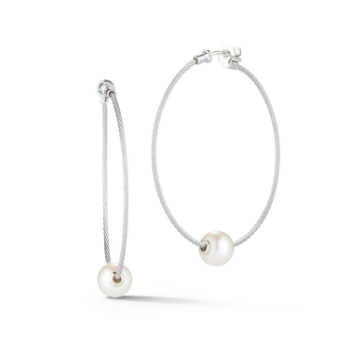 Grey Cable Hoop Earrings with 18kt White Gold & Fresh Water Pearl