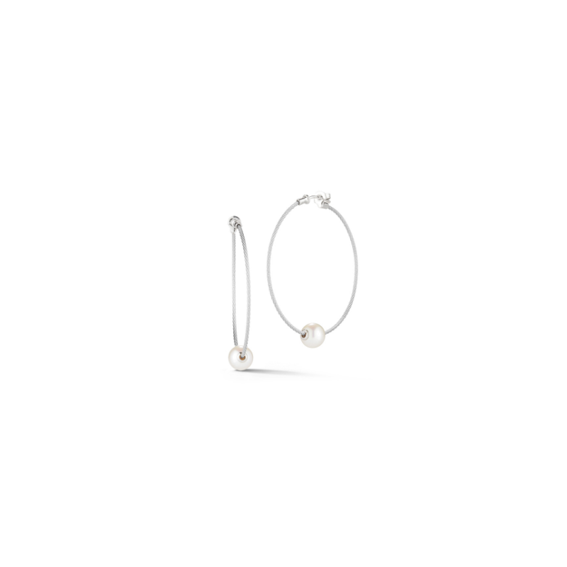 ALOR Grey Cable Hoop Earrings with 18kt White Gold & Fresh Water Pearl
