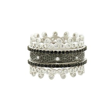 IF SS/BLK RHOD/ CZ 5 STACK RING SET SZ 7
