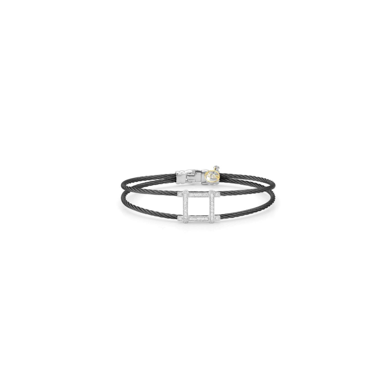 ALOR Black steel and 18K white gold diamond square top bracelet