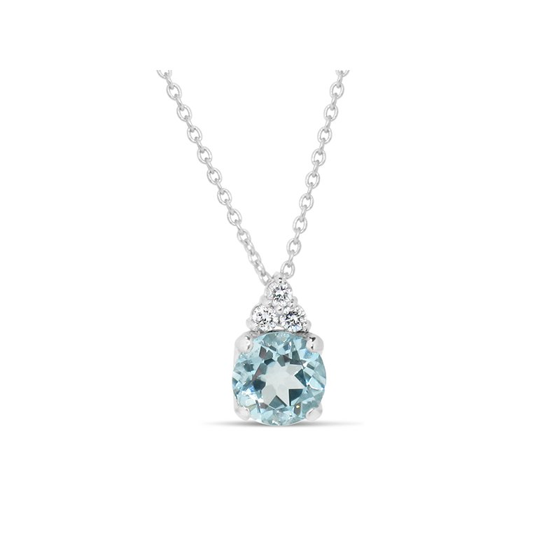 Aires Custom Fashion aquamarine and diamond pendant