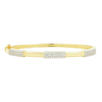 RAD SS/ 14KYP/CZ THIN HINGE BANGLE