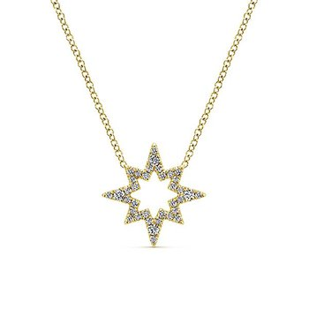 14KY .20CT DIA OPEN STAR NECKLACE