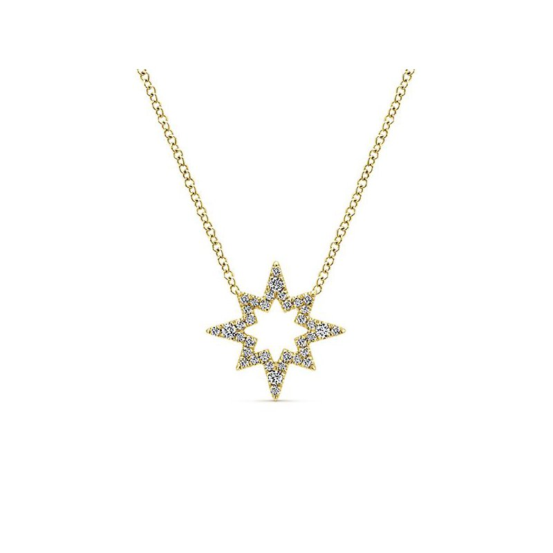 Gabriel Fashion 14KY .20CT DIA OPEN STAR NECKLACE