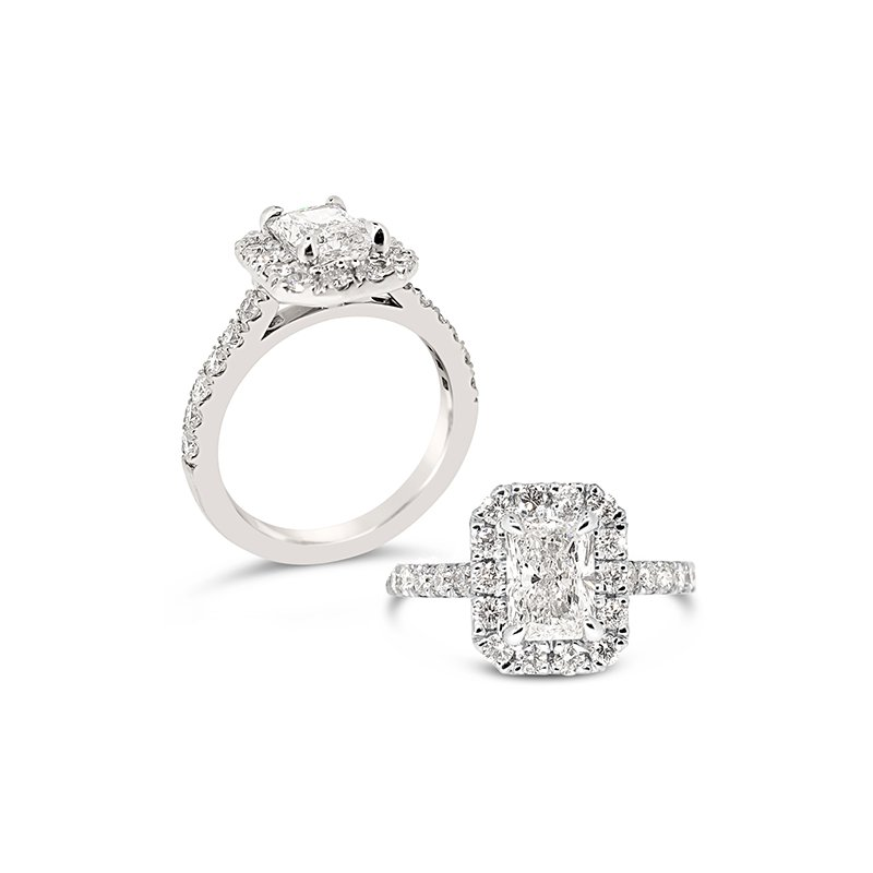 Aires Custom Bridal emerald cut with halo