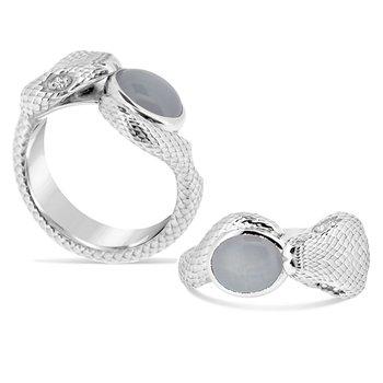 grey sapphire snake ring