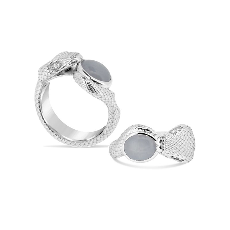 Aires Custom Fashion grey sapphire snake ring
