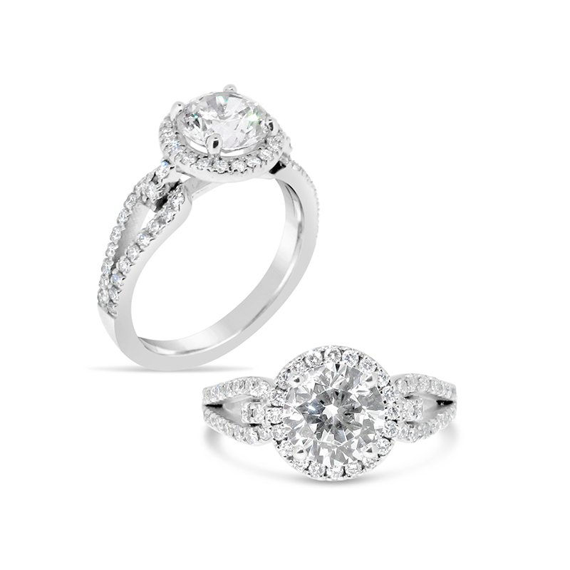 Aires Custom Bridal round center with halo and open shank