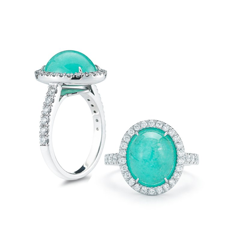 Aires Signature Collection Pariaba Tourmaline and Diamond ring