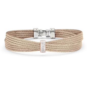 Carnation Cable Petite Bow Bracelet with 18kt Rose Gold & Diamonds