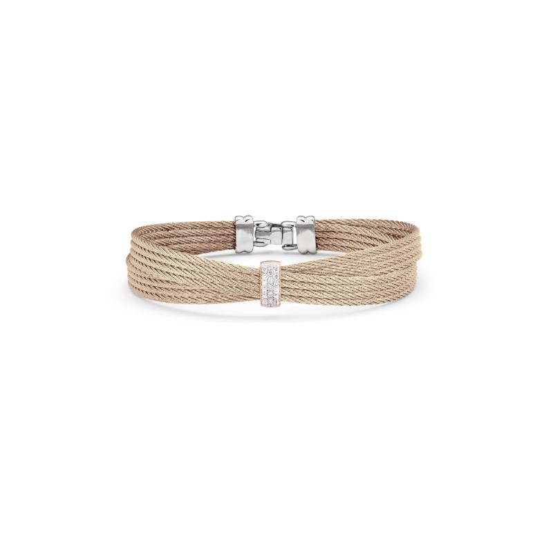 ALOR Carnation Cable Petite Bow Bracelet with 18kt Rose Gold & Diamonds