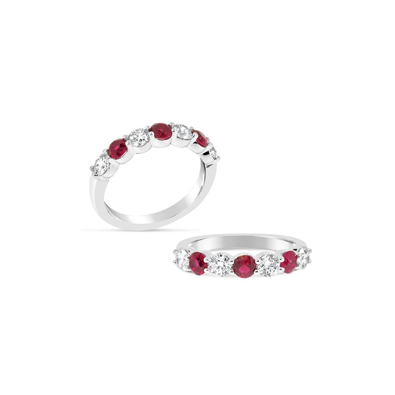 Aires Custom Bridal diamond and ruby band