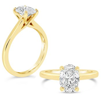 oval center solitaire ring