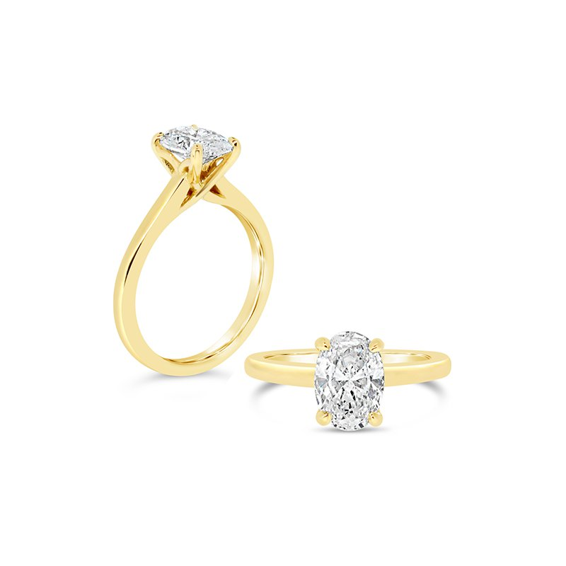 Aires Custom Bridal oval center solitaire ring