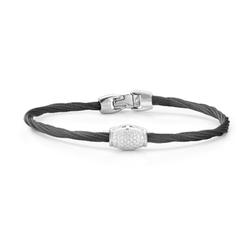 Noir Single Strand Black Cable with Diamond Center Bead Bracelet