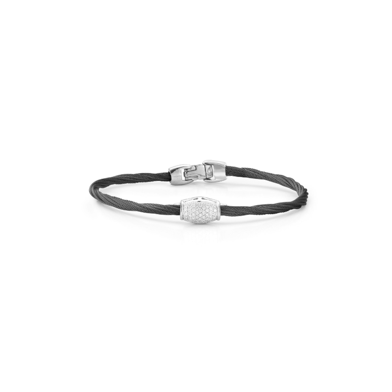 ALOR Noir Single Strand Black Cable with Diamond Center Bead Bracelet