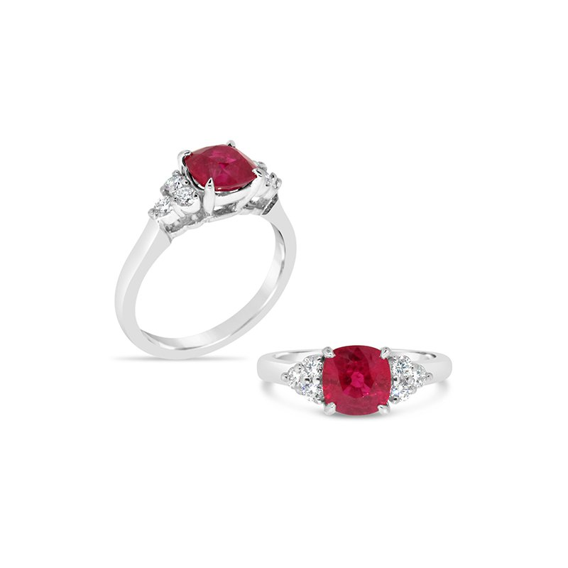 Aires Custom Fashion ruby and diamond ring