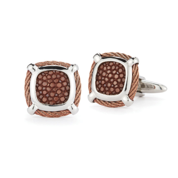 Bronze Cable Classic Square Cufflink with Brown Stingray
