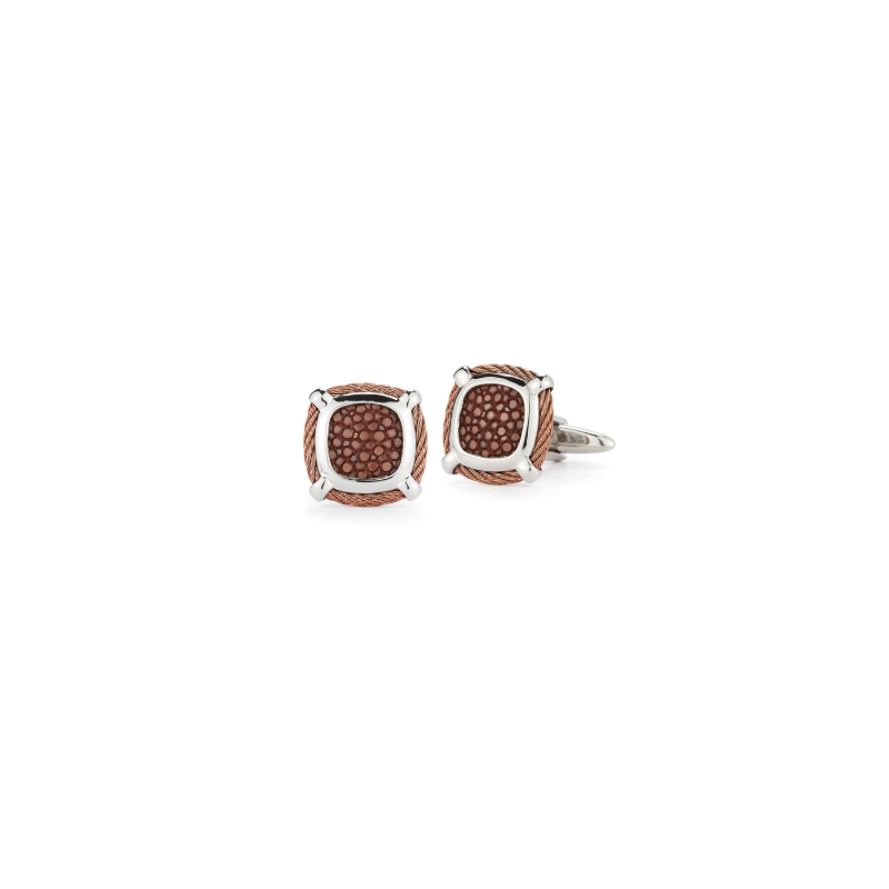 ALOR Bronze Cable Classic Square Cufflink with Brown Stingray