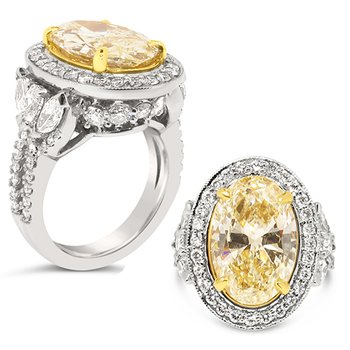 oval fancy yellow diamond with halo