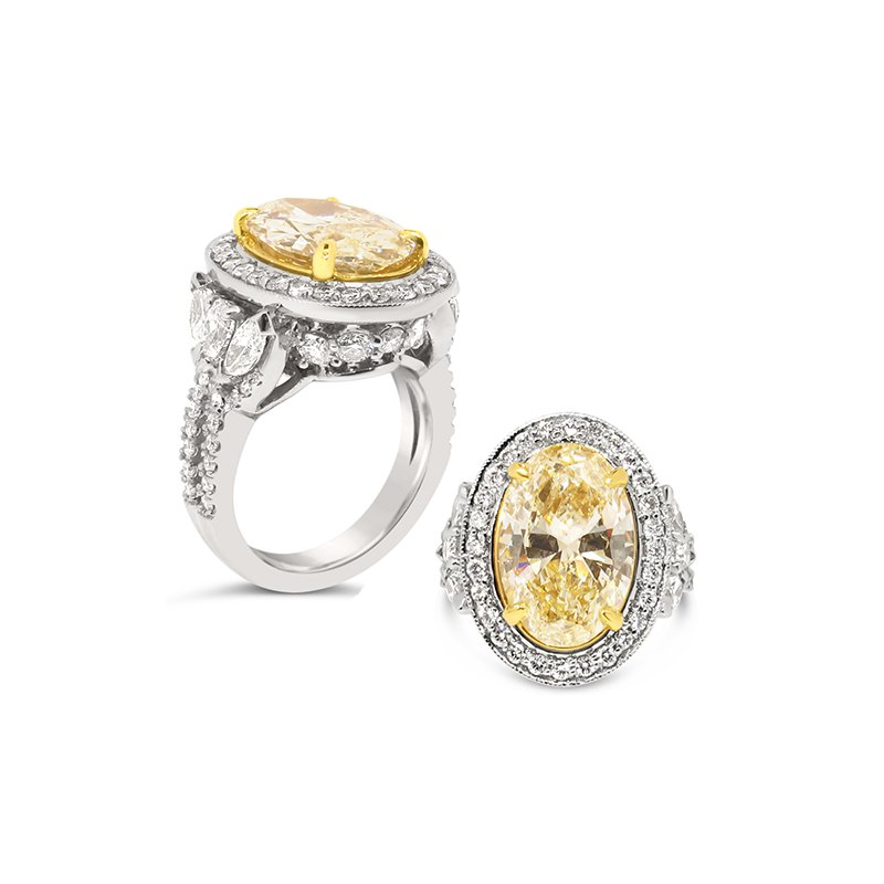 Aires Custom Bridal oval fancy yellow diamond with halo