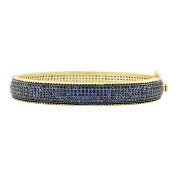 MDT II/ SS/ 14KYP/ BLU CZ PAVE HINGE BANGLE
