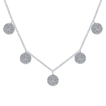 14KW .76CT DIA PAVE DISCS NECKLACE