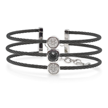 Burano 3-Row Black Cable Bracelet with Black Onyx set in 14kt Gold