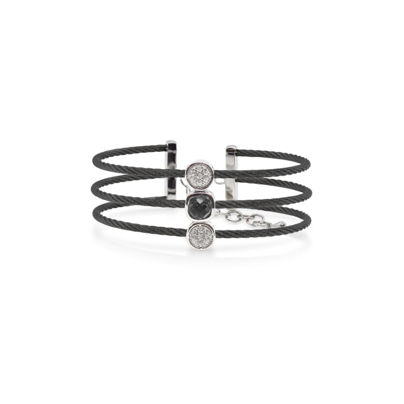 ALOR Burano 3-Row Black Cable Bracelet with Black Onyx set in 14kt Gold