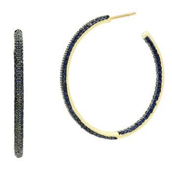 MD II/ SS/ 14KY/ BLUE CZ PAVE HOOP EARR (14K POSTS)