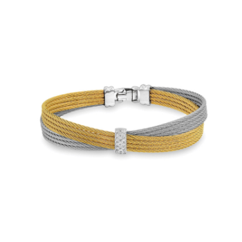 Yellow & Grey Cable Petite Bow Bracelet with 18kt White Gold & Diamonds