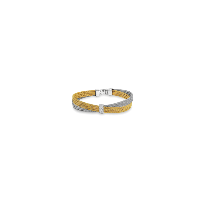 ALOR Yellow & Grey Cable Petite Bow Bracelet with 18kt White Gold & Diamonds