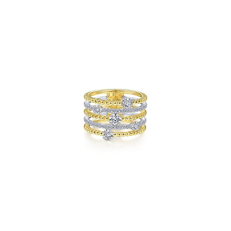Gabriel Fashion 14KY/W .59CT DIA MULTI BAND RING